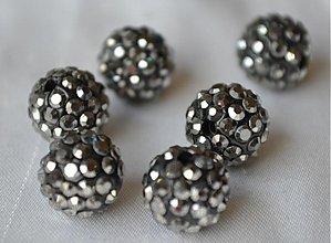 Korálky - shamballa korálky CZ krystal, black diamond, 0,25€/ks - 3710946