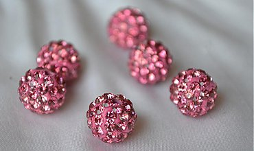 Korálky - shamballa korálky CZ kryštál ružové, 10mm, 0.25€/ks - 3710966