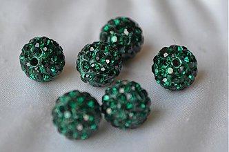Korálky - shamballa korálky CZ kryštál emerald, 10mm, 0.25€/ks - 3710970