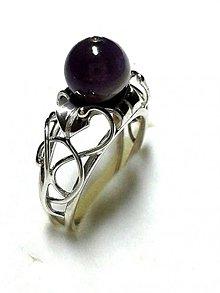 Prstene - strieborný prsteň s Ametystom - 3713865