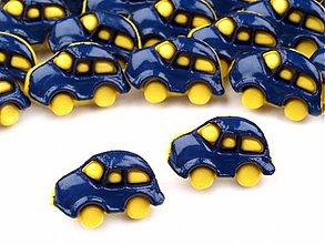 Galantéria - Detský gombík modré autíčko - 3717326