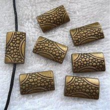 Korálky - Kov.korálka 9x15mm-1ks (st.mosadz) - 3721295