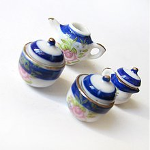Polotovary - Dolly Porcelain (/ WhiteBlue Roses) - 3723963
