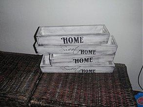 Nádoby - Drevený kvetináč-truhlík bielo-čierny home - 3724751