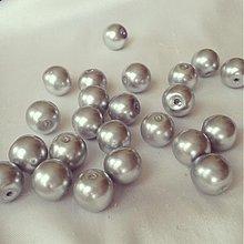 Korálky - Perly sklenené strieborné, 8mm, 0.35€/10ks - 3728721