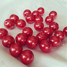 Korálky - Perly sklenené červené, 8mm, 0.35€/10ks - 3728727