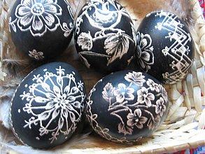 Dekorácie - Kraslice vyškrabávané čierne - 3730937
