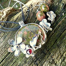 Sady šperkov - Sada unakit + granát - 3732655