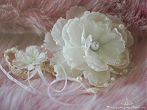 Ozdoby do vlasov - vintage svatební čelenka s perličkami a květy - 3735540