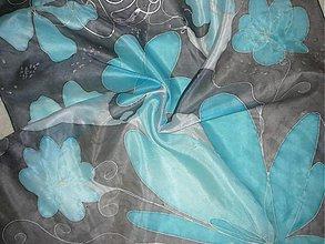 Šatky - Hodvábna šatka Tyrkysový kvet - 378610