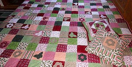 Úžitkový textil - patchworková deka zeleno ružová - ukážka - 381810