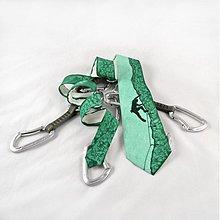 Doplnky - Hedvábná kravata (nejen) pro horolezce - zelená - 392615