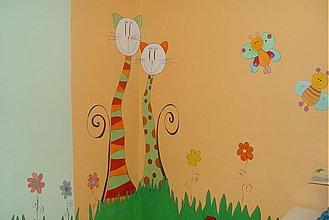 Kresby - mačičky dvojičky na stene - 39651