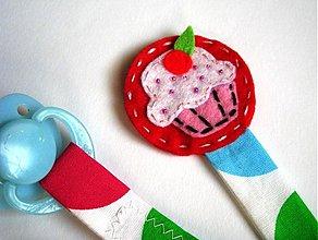 Detské doplnky - Klip na dudlik - muffinka - 401246