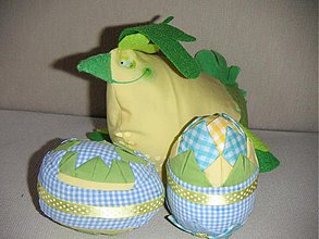 Dekorácie - Sliepka figliarka s vajíčkami - 414255