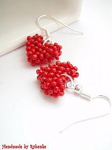 Náušnice - Red hearts - 419223