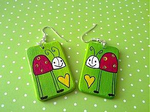 Náušnice - náušničky- lienočka ti daruje žlté srdce - 433130