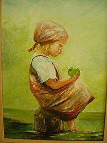 Obrazy - Dievčatko s jablkom - 440890