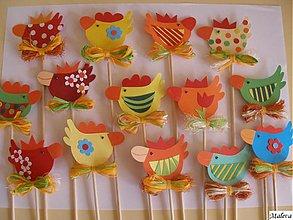 Dekorácie - Veselé veľkonočné sliepočky - 443895