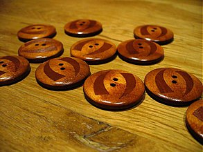 Galantéria - drevený gombík 2,8cm - 465394
