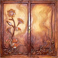 Obrazy - Kožený umělecký obraz - Slunečnice za oknem - 474824
