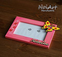 Rámiky - Ružový rámik s motýľom - 475654