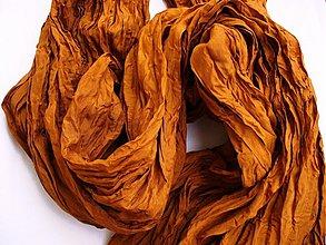 Šály - škoricovo-hnedý hodvábny pléd  - 480145