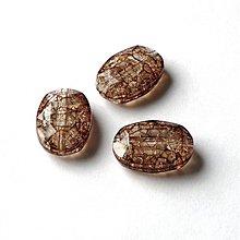 Korálky - 0473 Plastové brúsené ovály - hnedé, 25x18 mm, 1 ks - 493456