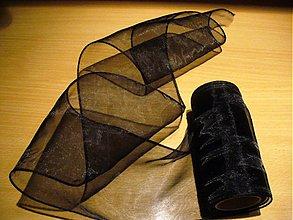 Textil - organzová stuha 11 cm/ čierna - 52862