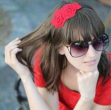 Ozdoby do vlasov - Čelenka červené kvety gerberky - 550466