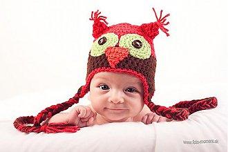 Detské čiapky - Červená sovička - 558573