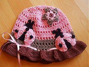Detské čiapky - Ružovo-hnedo-čokoládový,s lienkami - 600201