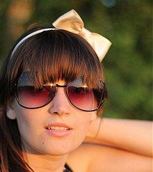 Ozdoby do vlasov - Čelenka s mašľou krémová - 607413