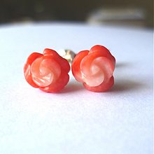 Náušnice - Ružový korál - 628172
