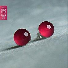 Náušnice - Malinové bublinky - stříbro - 629196