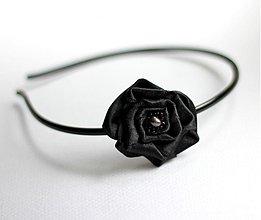 Ozdoby do vlasov - Čierna čelenka so saténovým kvetom - 646573