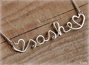 Náhrdelníky - Náhrdelník s menom z postriebreného drôtu: 6-8 písmen (♥sashe♥) - 669077