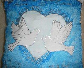 Úžitkový textil - Svadobný vankúšik srdce - 67645