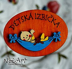 Tabuľky - Tabuľka DETSKÁ IZBIČKA hnedá chlapček - 699289