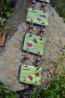 Náramky - náramek zelený s dvěma tulipány - 707379