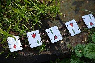 Náramky - náramek bílý s tulipánem - 707382