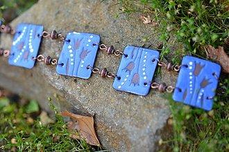 Náramky - náramek modrý s tulipány - 707383