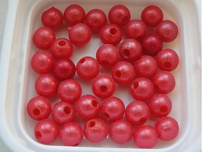 Korálky - Plast 8mm-červená-20ks - 713662