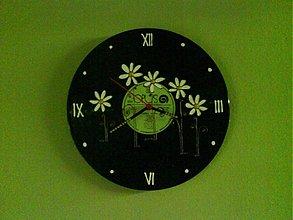 Hodiny - Retro hodiny-margarétkové- - 719088
