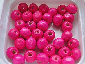 Korálky - Drevené korálky 7x8mm-50ks (ružová ostrá) - 728314