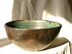 Nádoby - miska bronzová, zelená, medienková - 752831