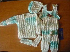 Detské súpravy - pletená súprava melír - 761669