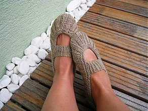 Obuv - Pletené balerínky - béžová/melír - 770579