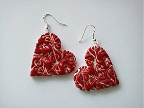 Náušnice - Červené srdcia - 782975