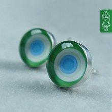 Náušnice - Zelinkavě - fialkové kroužky: stříbro - 786268